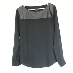 Ann Taylor Shirt sz Small Blouse Faux Leather